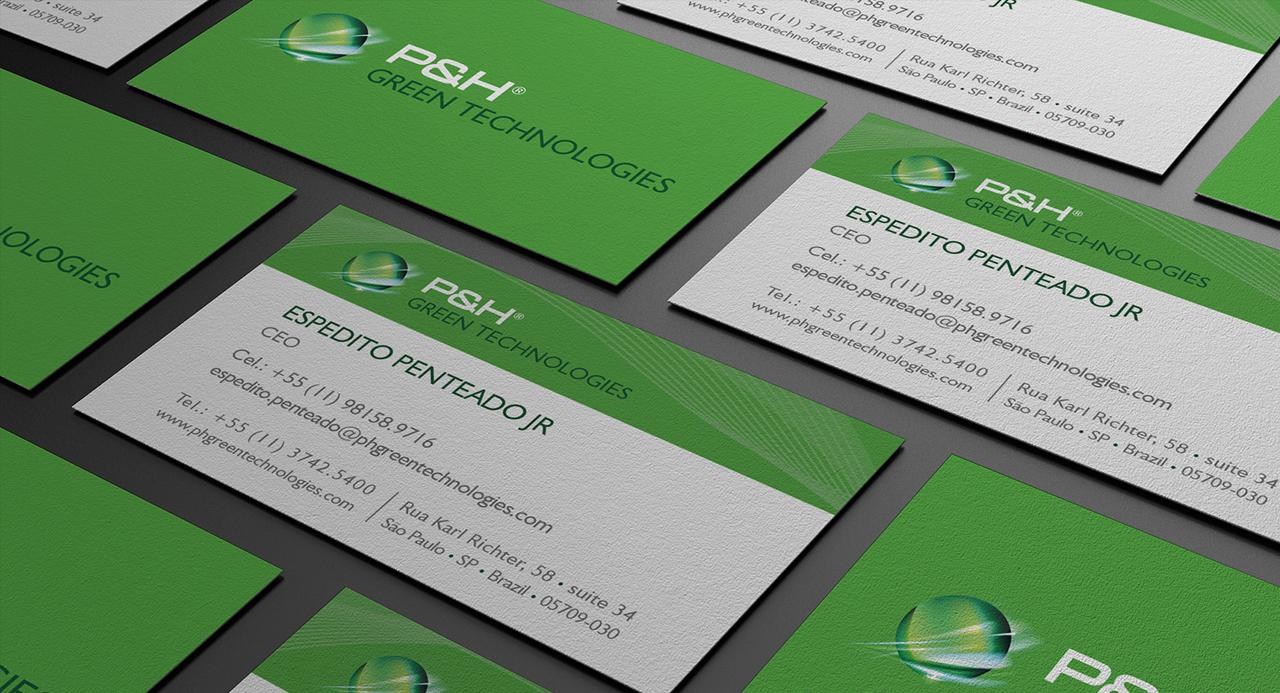 cartão de visitas ph green
